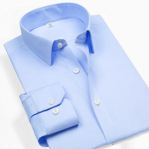 Dress Shirt Boss-Style Slim-Fit Business Long-Sleeves Blue White 100%Cotton Solid Formal