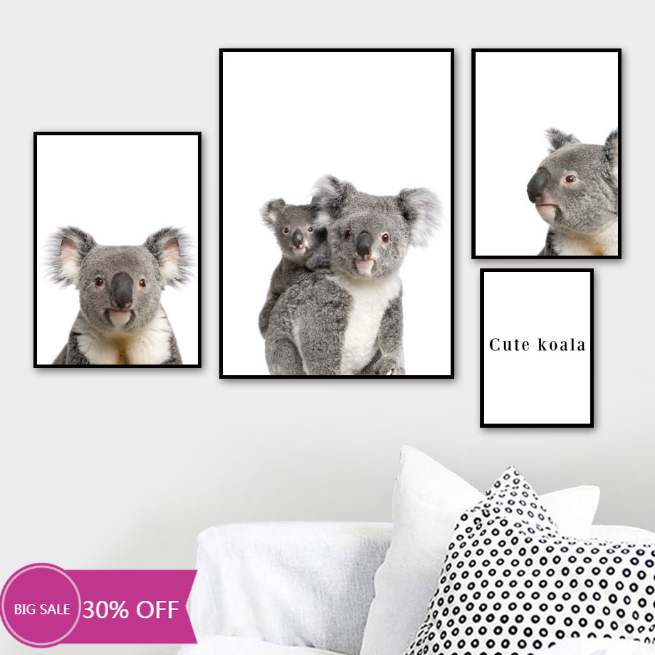 Christmas Decoration Canvas Painting Animal Posters Lovely Koala Wall Art Picture Cuadros Decorativos Home Decor Hot Deal B340 Cicig