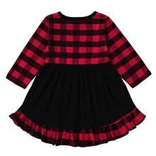 Christmas Girl Buffalo Plaid Ruffle Dress