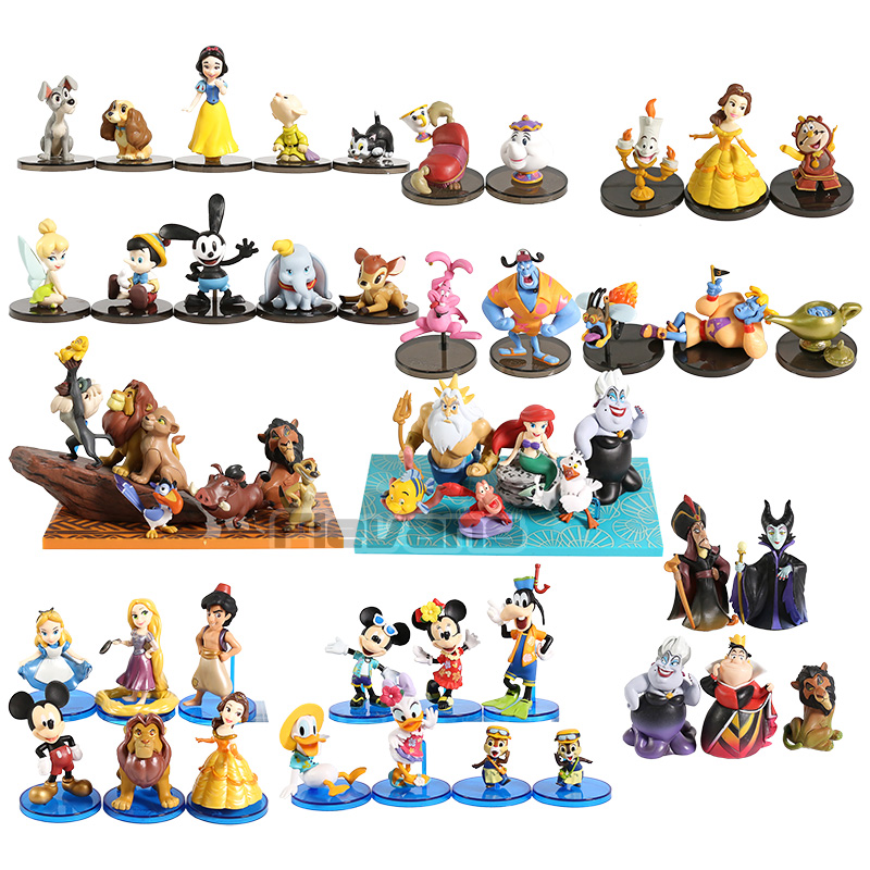 WCF Story The Lion King Snow White Beauty and the Beast Belle Malefice The Little Mermaid Ariel PVC Figures Toys Set