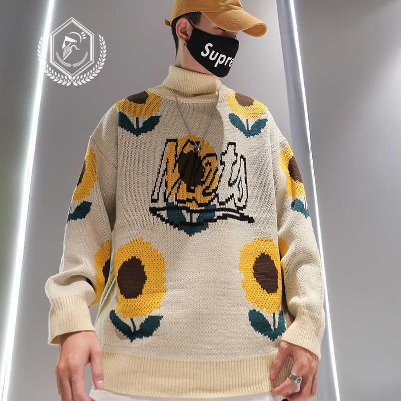 남자 패션 느슨한 꽃 인쇄 헤비급 Knitsweater 캐주얼 풀오버 힙합 새로운 스웨터