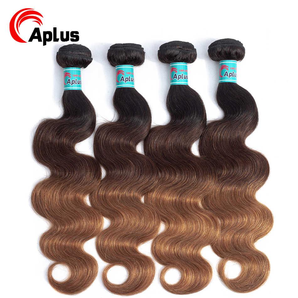 Aplus 4 pacotes peruano cabelo onda do corpo 3 tom colorido cabelo humano tecer pacotes loira ombre extensões de cabelo t1b/4/30 não remy