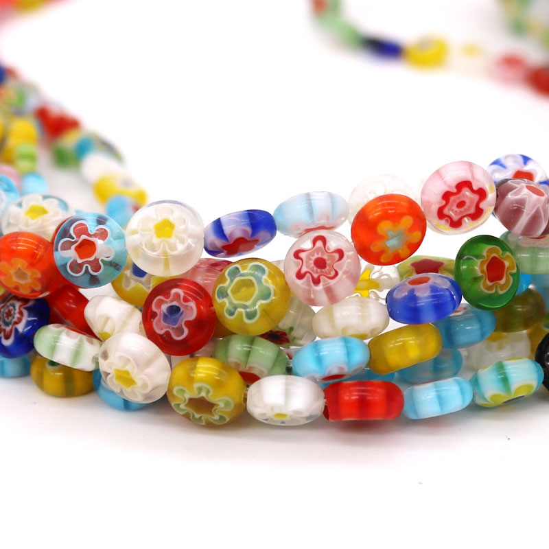 Mixed Colors 46pcs/lot 8x8mm Oblate Shape Flowers Glaze Spacer Beads Austria For Kids Jewelry DIY Making Accessorie