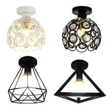 Lámpara LED E27 de techo negra de hierro Vintage, lámpara de techo Industrial moderna, accesorio de jaula de iluminación nórdica, decoración para el hogar y la sala de estar