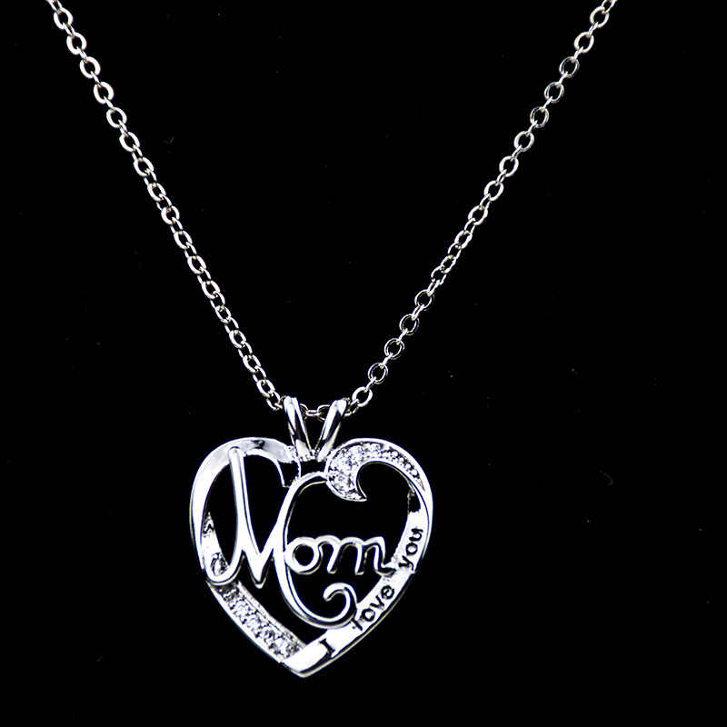S925 מוצק כסף מצופה תליון שרשרת נשים אני אוהב אותך אמא לב קריסטל שרשרת עבור אמא של יום מתנת חג המולד תכשיטים
