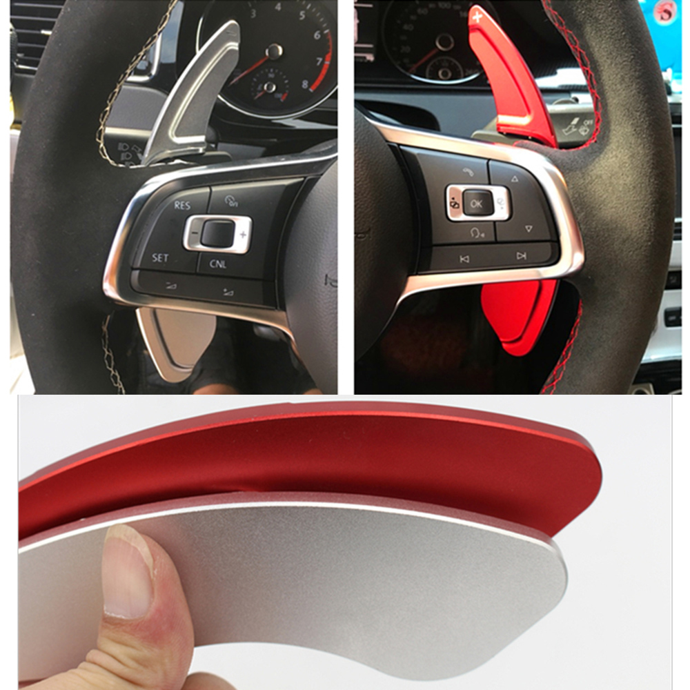 Сдвиг весло для Volkswagen MK6 Golf7 MK7 MK7.5 GLI GTE GTD R RLINE Scirocco POLO Автомобильный руль из алюминиевого сплава DSG наклейки