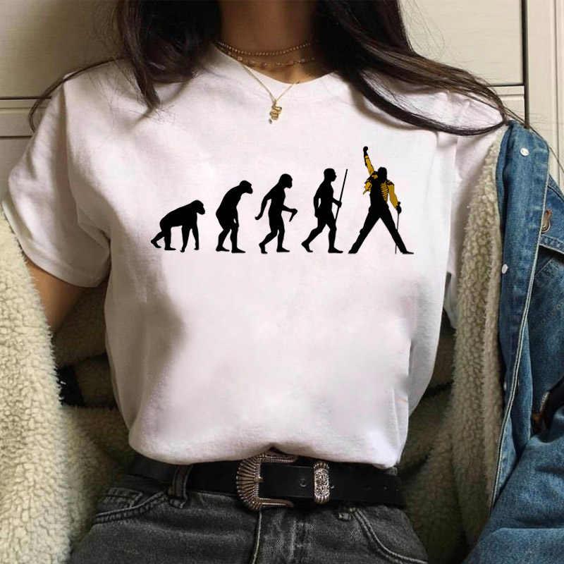 BONJEAN Freddie MERCURY Queen Band T เสื้อผู้หญิง Harajuku VINTAGE Ulzzang เสื้อยืดแฟชั่น Queen TShirt 90s Graphic ROCK TOP tees