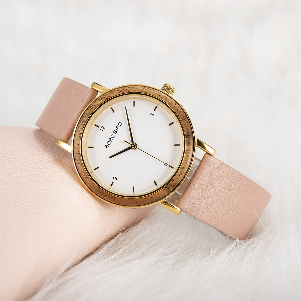 BOBO BIRD Ladies Fashion Wooden Inlay Watch with Leather Strap