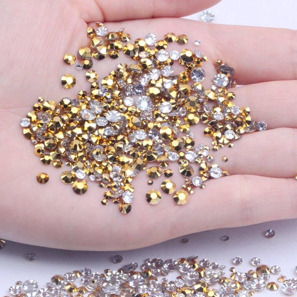 500/1000 шт 2-6 мм и смешанные размеры золотые стразы из смолы без горячей фиксации блеск для ногтей художественный рюкзак DIY Дизайн украшения