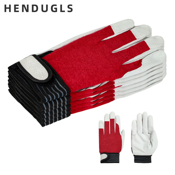 HENDUGLS 5pcs Men's Work Gloves Safety Protective Leather Camouflage Cloth Tactics Red Glove Wear Resistant Non-slip 508R - discount item  50% OFF Workplace Safety Supplies