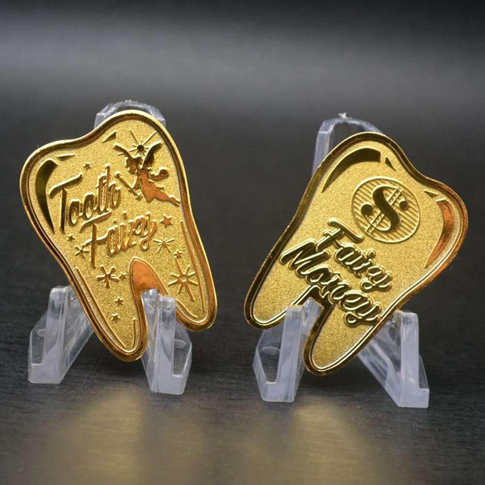 Зубная фея деньги Позолоченные памятная монета Творческие дети зуб Подарки изменения монета