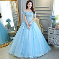 Off The Shoulder Ball Gown Sky Blue Quinceanera Dresses Applique Lacesweet 16 Dress Vestido De Quincenera Vestido De Quincianera