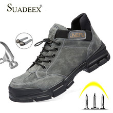 цена SUADEEX Men Safety Boots Construction Outdoor Work Safety Shoes Steel Toe Cap Safety Boots Men's Anti-Puncture Work Shoes Boots онлайн в 2017 году
