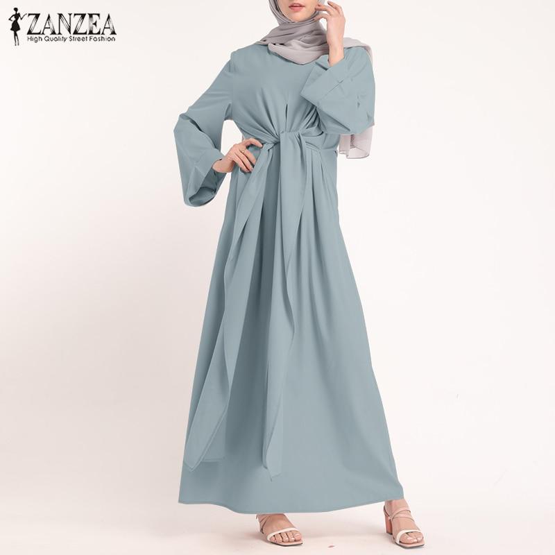ZANZEA Muslim Dresses Eid Mubarak Kaftan Dubai Abaya Turkey Fashion Hijab Dress Islam Clothing Maxi Sundress For Women Vestidos 4