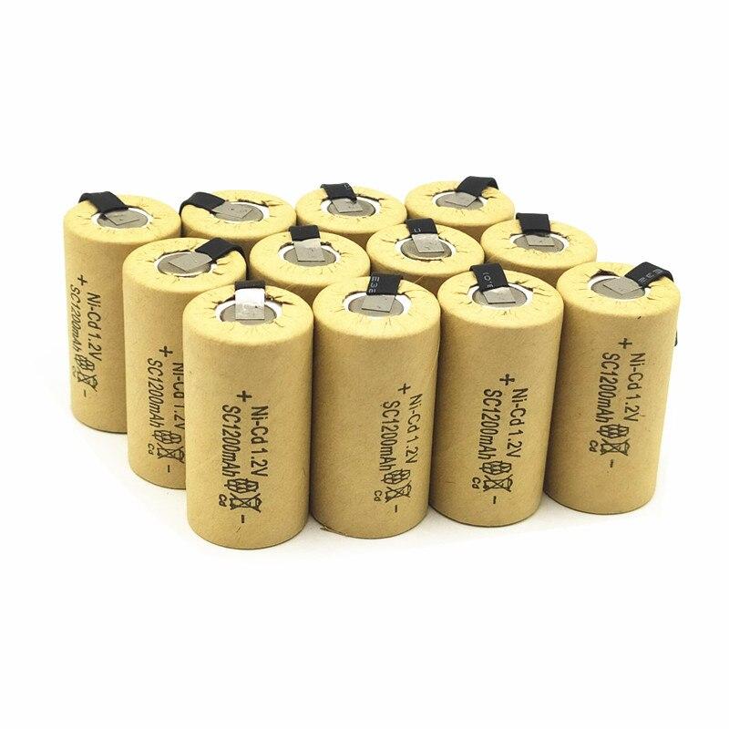12 unids/lote batería de alta calidad recargable sub batería SC ni-cd batería 1,2 v con tab 1200 mAh para herramienta eléctrica