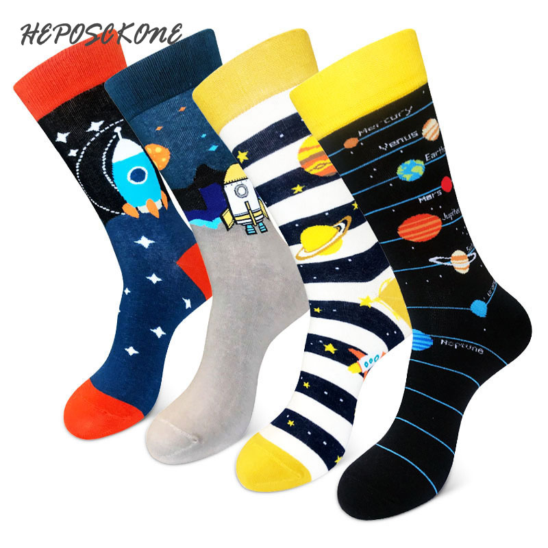 [HEPOSCKONE]Novelty Design Skateboard Unisex Socks Creative Space Rocket Alien Planet Cotton Funny Socks Men Chaussette Homme