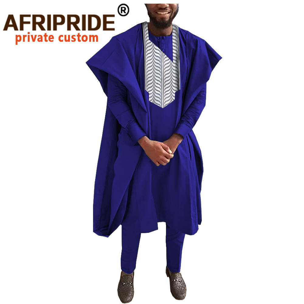 African Men Clothing Traditional Set For Evening Wedding Suit Agbada Robe Dashiki Shirts Ankara Pants Outfits AFRIPRIDE A2016022