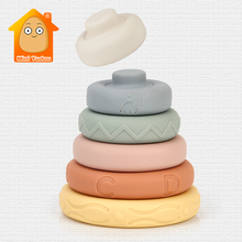 Baby Soft Toys Sensory Silicone Educational Building Blocks 3D Stacking Babies Rubber Teether Squeeze Circle Toys For Infant