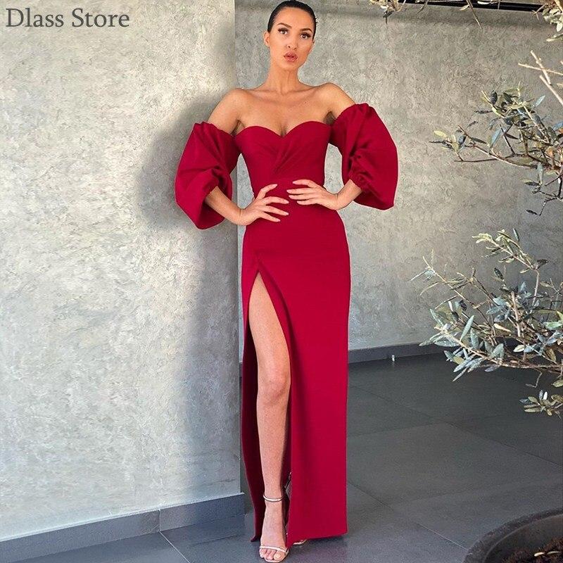 2020 Evening Dress Simple Off Shoulder High Split Lantern Long Sleeve Sweetheart Neck Ankle Length Prom Dress вечернее платье