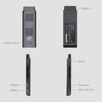 Quad Core Mini PC Stick Intel N4100 4GB LPDDR4 128GB eMMC 5.1 2.4G/5.0G WiFi Bluetooth 4.2 HDMI 2.0 4K 60Hz 2xUSB3.0 Windows 10