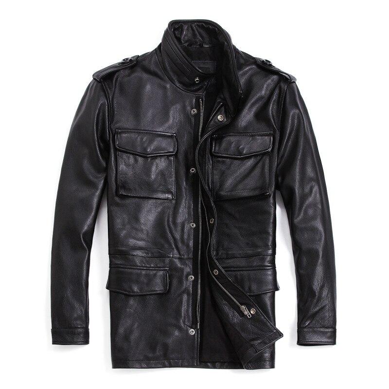 Grande taille 7XL hommes veste en cuir véritable longue véritable peau de vache manteau en cuir noir moto Biker veste pour homme R3049