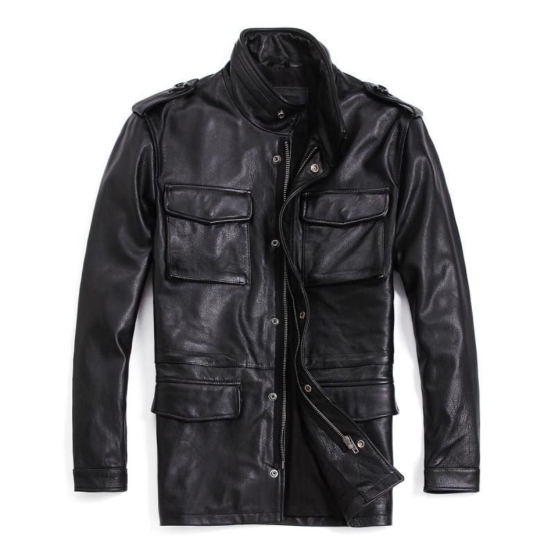 Plus Size 7XL Men's Genuine Leather Jacket Long Real Cowhide Leather Coat Black Motorcycle Biker Jacket For Male R3049