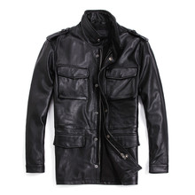 Plus Size 7XL Men's Genuine Leather Jacket Long Real Cowhide Leather Coat Black