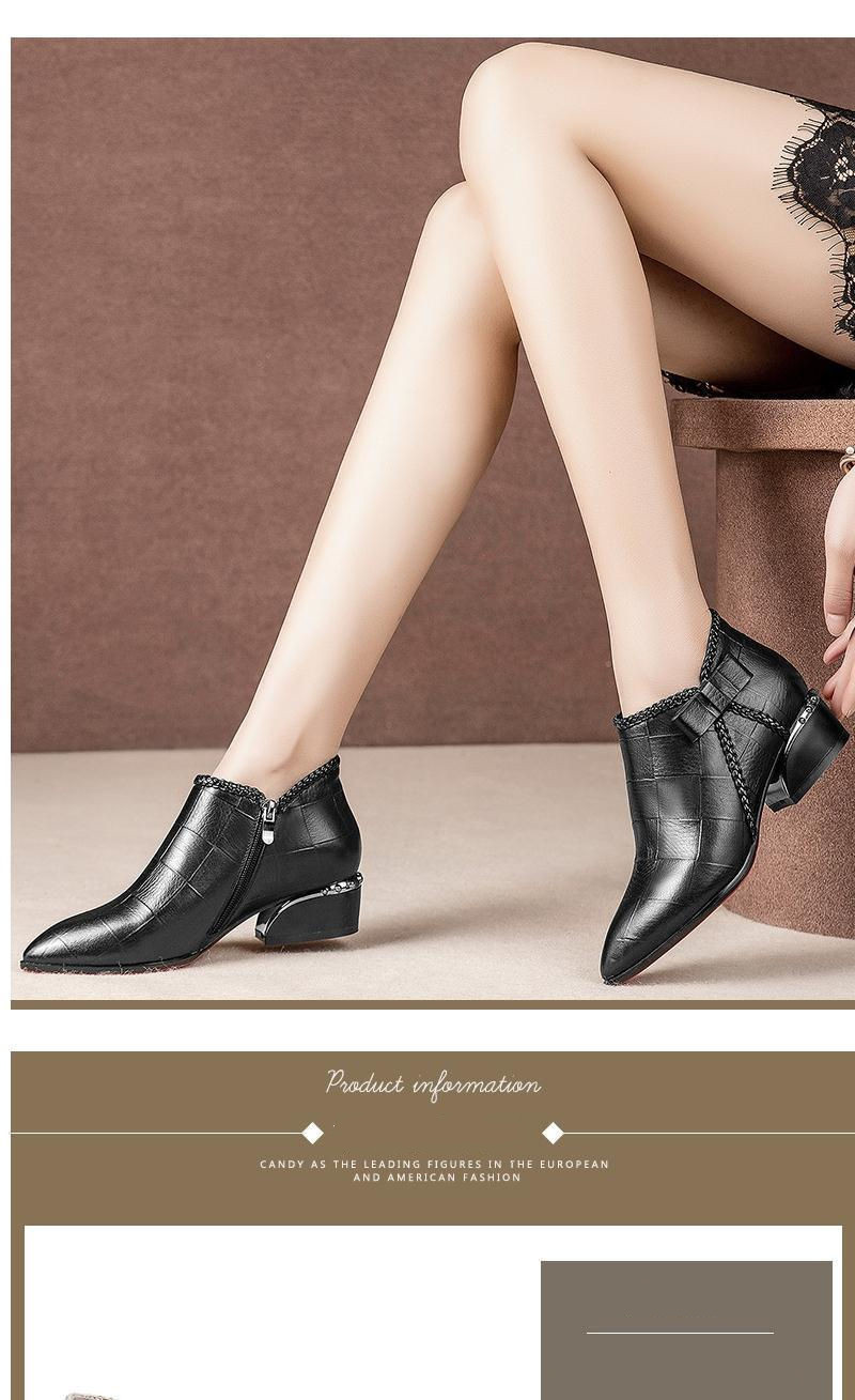 Pointed Toe Beige Square Heel Women Boots 2019 Fashion Butterfly-knot Ankle Boots Zipper PU Leather Rubber Zapatos Mujer