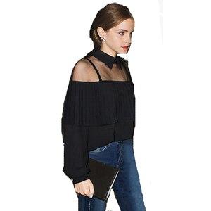 Jesień z długim rękawem Hollow Out Off ramię koszula w stylu Cape topy luźna plisowana szyfonowa bluzka damska FS0166