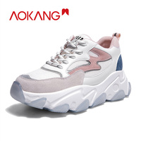 AOKANG Casual Shoes Woman Lace Up Flat Shoes Sneakers Tenis Feminino Platform Chunky Shoes Women Fashion Vulcanized Shoes