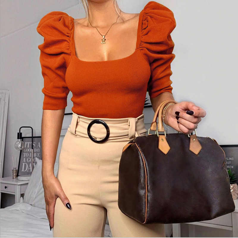The New 2020 French Court Wind Pure Color Five Points Hubble-bubble Sleeve Square Collar T-shirt Female Rib Knit Top Coat