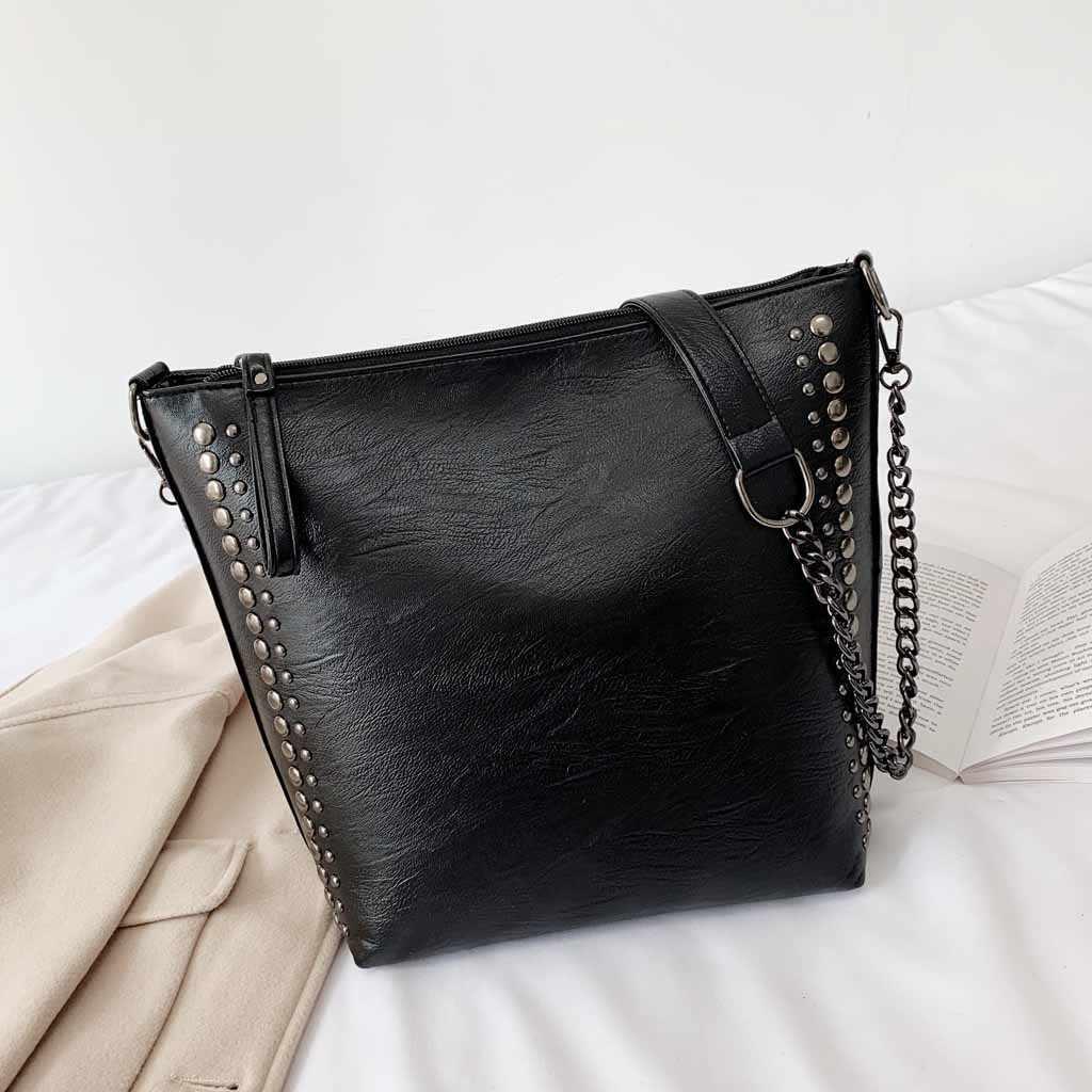 Couro do plutônio das mulheres mensageiro sacos bolsas femininas 2019 casual simples corrente rebite bolsa de ombro saco do mensageiro bolsas femininas