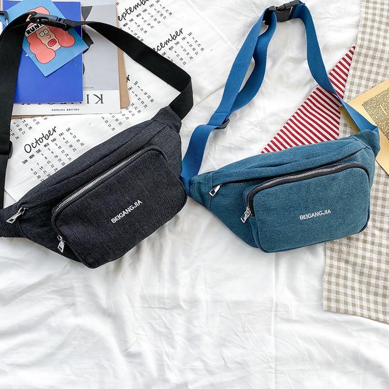 Waist Bag Female Belt Bags New Fashion Canvas Waterproof Chest Bag Handbag Unisex Fanny Pack Ladies Waist Pack Belly Bags Purse