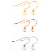 50 teile/los Edelstahl Rose Gold Silber Ohrring Haken Ohrringe Umklammert Entdeckungen Ohrring Drähte Für Schmuck Machen Liefert DIY