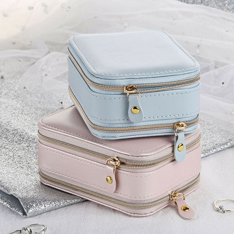 Jewelry Box Zipper Leather Storage Organizer Jewelry Holder Packaging Display Travel Jewelry Case Gift Boxes For Women