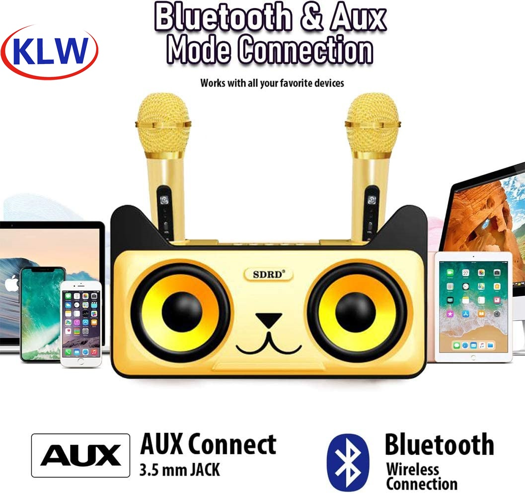 Family KTV Karaoke Bluetooth USB Driver TF Card 3.5mm AUX in Wireless Loudspeakers For Phone PC Stereo Subwoofer  With Micphone