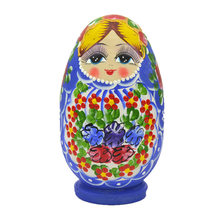 Russian Matryoshka Doll 6-Layer Egg-Shaped Basswood Color Draw Beautiful Doll(China)