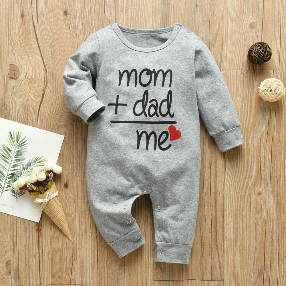 Baby Boys Girls Romper Cotton Long Sleeve Letter Mom Plus Dad Equal Me Jumpsuit Infant Clothing Autumn Newborn Baby Clothes 01