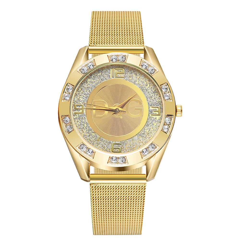 2019 New Fashion Gold Silver Women Watches Stainless Steel Mesh Quartz Wrist Watch Relogio Masculino Reloj Mujer DG Watch Clock
