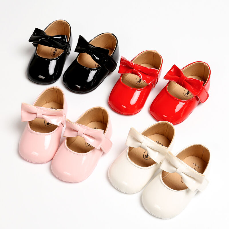 Newborn Baby Girl Anti-slip Bling Crib Pram Shoes Bow Solid Leather Soft Sole Prewalker Hot
