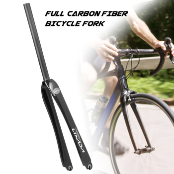 Lixada 25.4mm Ultralight Full Carbon Fiber Road Bicycle Fork 700C Cycling Fixed Gear Bike Front Fork Carbon fiber