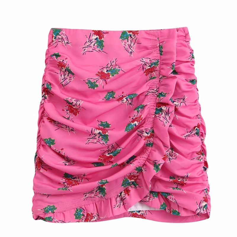 Women Flower Print Agaric Lace Pleated Mini Skirt Faldas Mujer Ladies Casual Slim Back Zipper Chic Asymmetrical Skirts QUN563