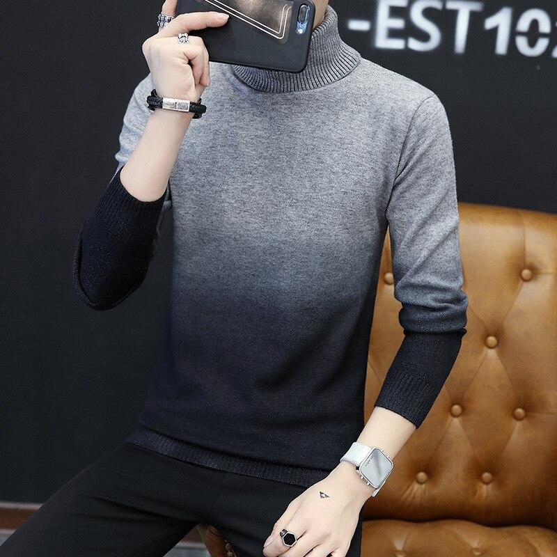 Autumn Sweaters Men Winter Clothes 2020 Korean Fashion Casual Turtleneck Sweater Slim Fit Pullover Men's Blouse 6628LW878