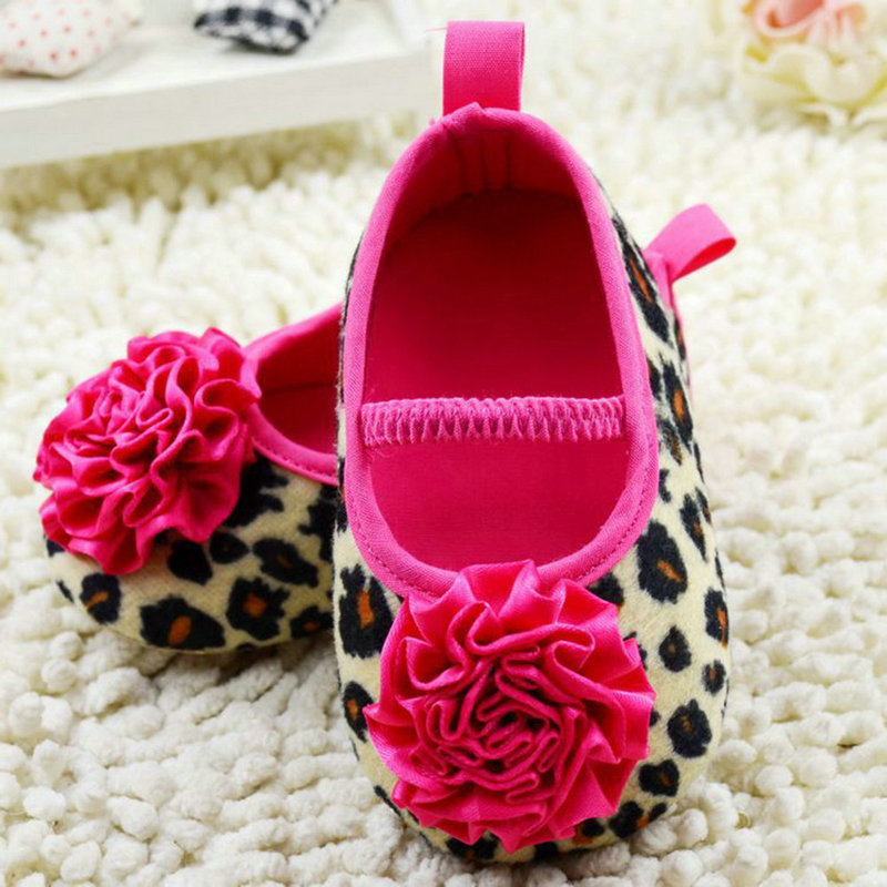 Hot Sale New Cute Kids Girl Leopard Baby Shoes Peony Flower Infant Toddler Crib Shoes 0-18M