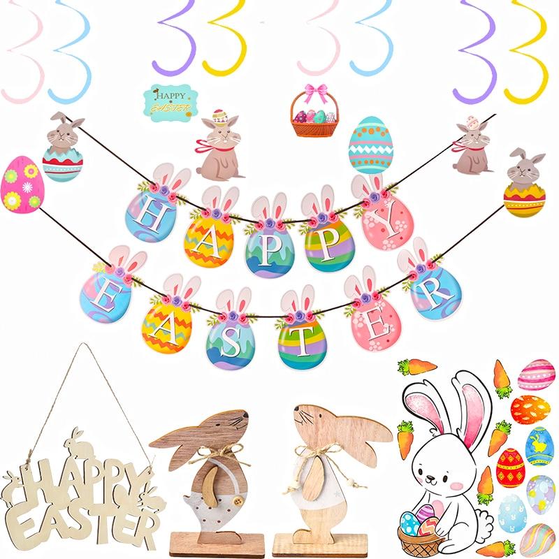 1 комплект счастливый баннер для пасхи спиральный подвесной завиток пасхальное украшение кролик деревянный ремесло пасхальные вечерние пр...