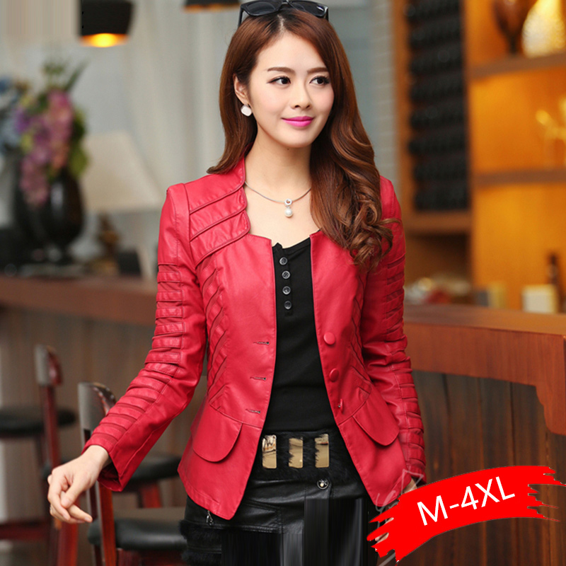 New Plus Size 4XL Faux   Leather   Soft Pu Slim Motorcycle Autumn Women Red Black Lady Biker Outerwear Coat Autumn Tops