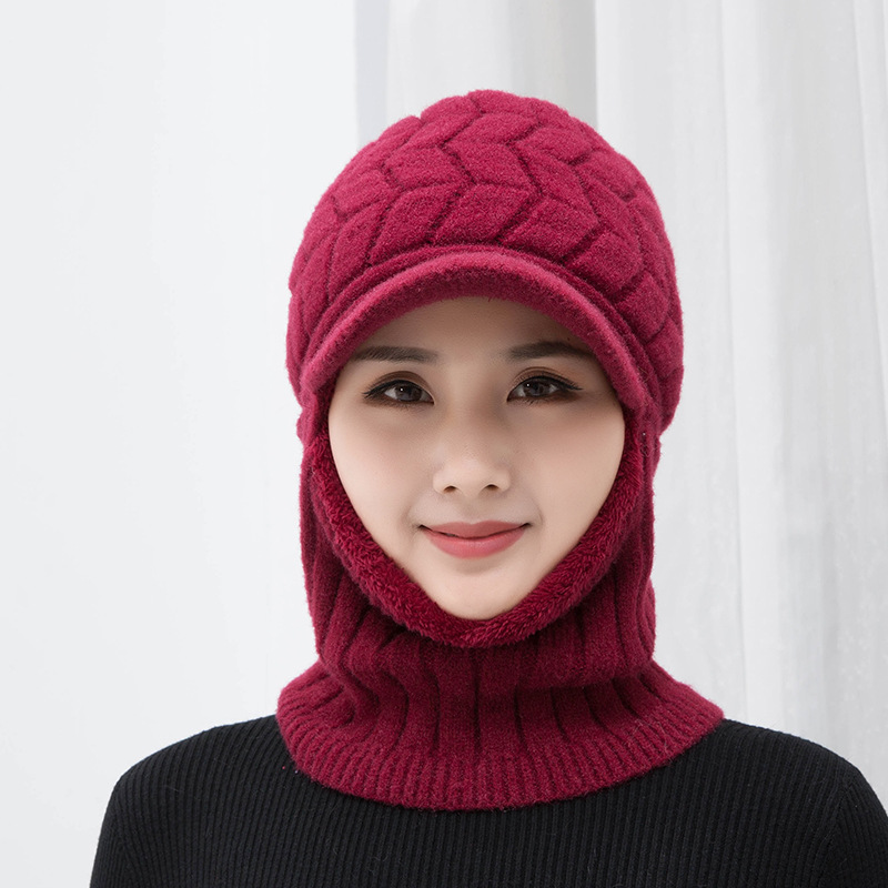 Simple Woman Skullies Beanies Riding Windproof Mask Ear Protect Balaclava Winter Hats For Women Thick Warm Knitted Cap