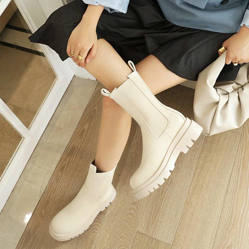 ZawsThia Round Toe Platform Womens Boots Luxury Brand High Top Winter Fleece Warm Shoes Anti skid Woman Chelsea Booties Botas