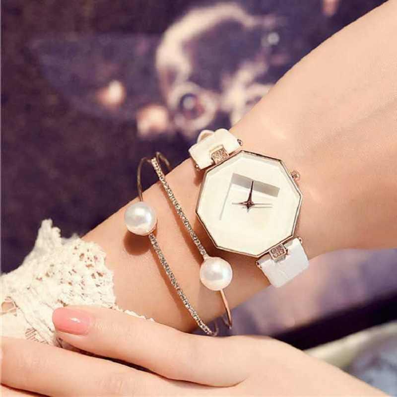 Mode luxe femmes montres Quartz montres Quartz classique ronde dames montre en cuir femmes cristaux montre reloj mujer
