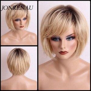 Pelucas de cabello rubio JONRENAU Rubio de 12 pulgadas con flequillo lateral, pelucas de cabello 50% humano, cabello sintético mezclado para mujer a diario